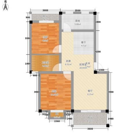 山水英伦庄园2室0厅1卫1厨76.00㎡户型图