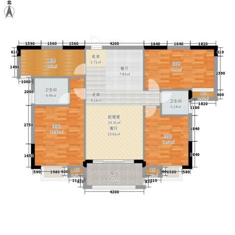 山水英伦庄园3室0厅2卫1厨123.00㎡户型图