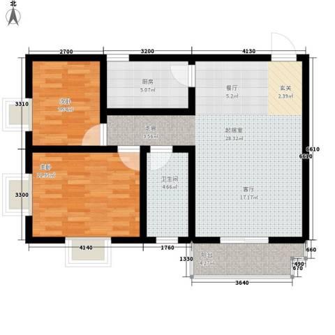 尚品格蓝2室0厅1卫1厨85.00㎡户型图
