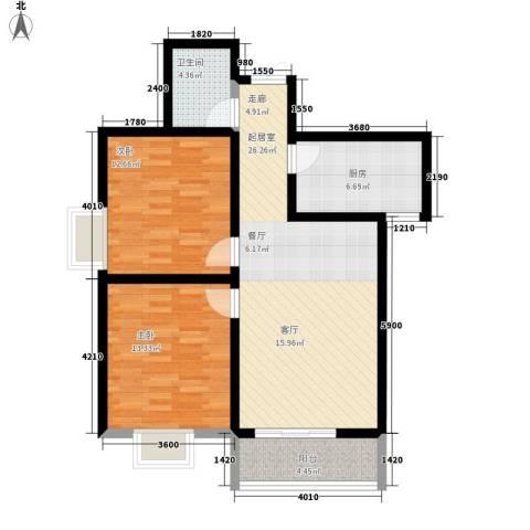 尚品格蓝2室0厅1卫1厨93.00㎡户型图