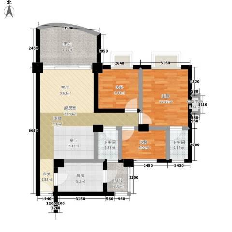 华南碧桂园芳翠苑3室0厅2卫1厨80.14㎡户型图