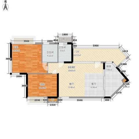 天御2室0厅2卫1厨96.00㎡户型图