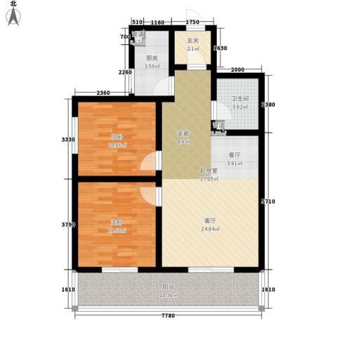 御园温泉小区2室0厅1卫1厨87.00㎡户型图