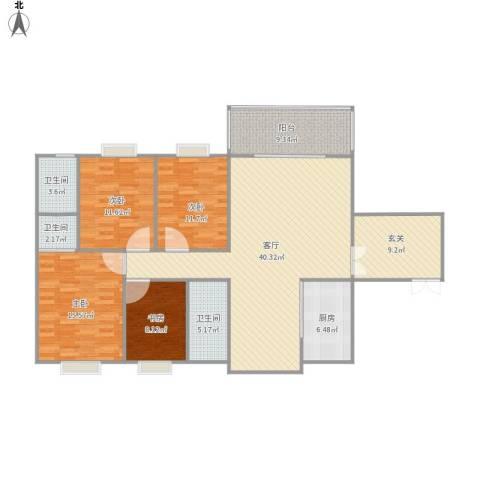 康定园华龙苑4室1厅3卫1厨165.00㎡户型图