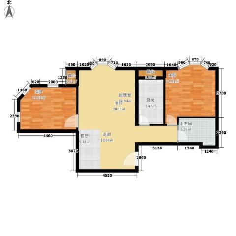 中海城圣朝菲2室0厅1卫1厨87.00㎡户型图