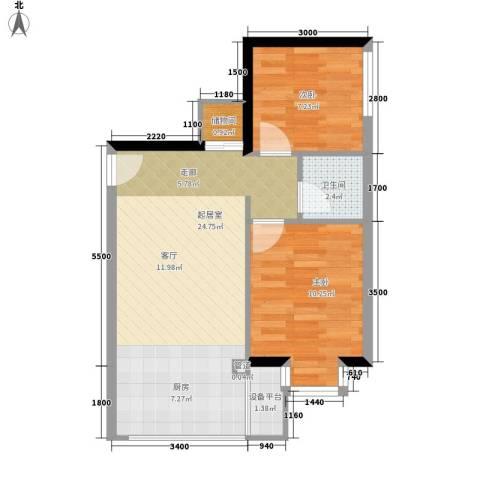 小悉尼自由岛2室0厅1卫0厨62.00㎡户型图