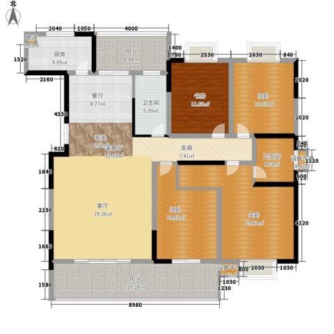 鑫远湘府华城4室1厅2卫1厨168.00㎡户型图