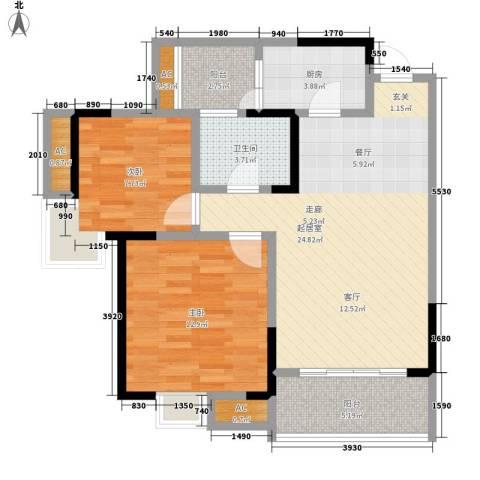 升伟新意境2室0厅1卫1厨64.00㎡户型图