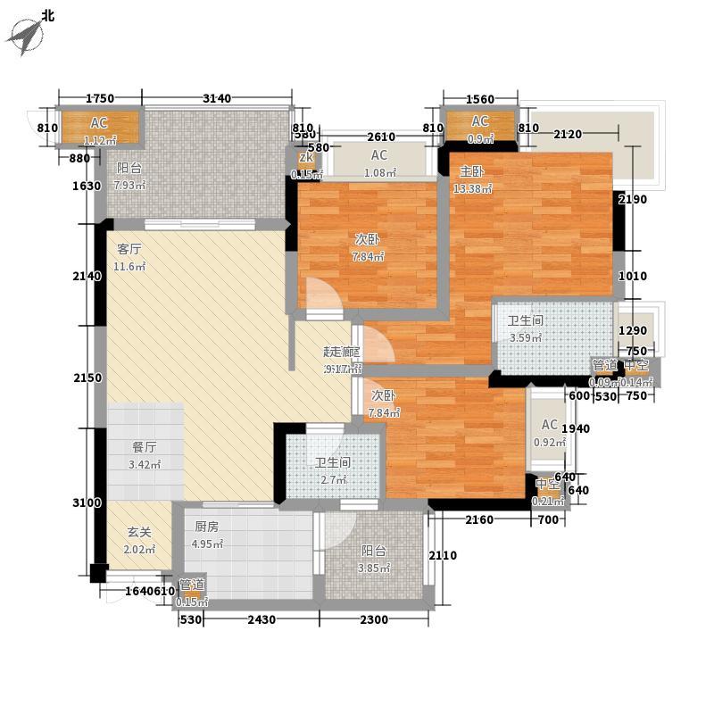 融汇温泉城锦绣里83.03㎡一期8号楼标准层D户型