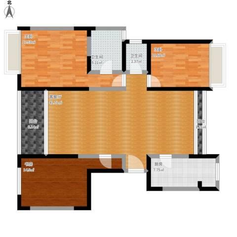 御沁园公寓3室1厅2卫1厨155.00㎡户型图