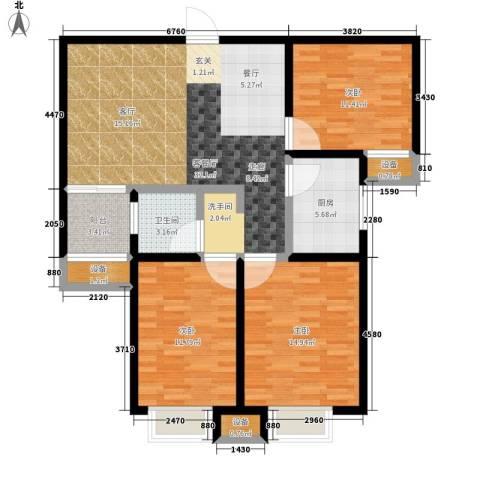 顺驰中央公馆3室1厅1卫1厨99.00㎡户型图