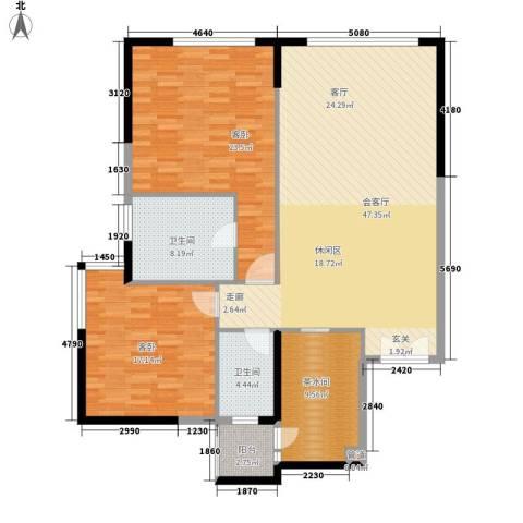 富力爱丁堡国际公寓2室0厅2卫0厨126.00㎡户型图