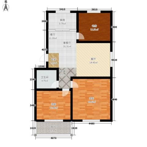 恋日花都3室1厅1卫1厨129.00㎡户型图