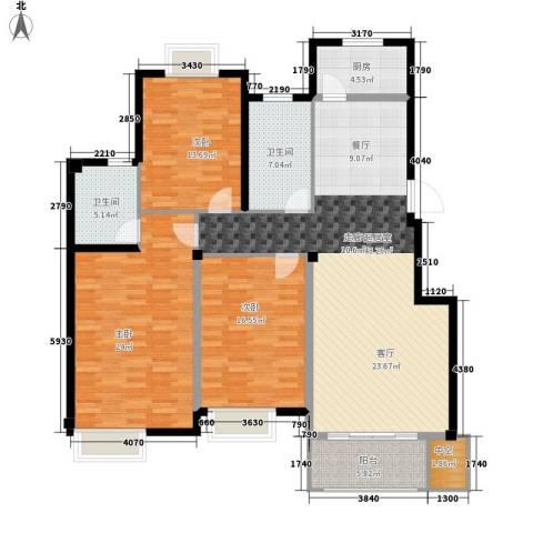 新隆蓝天公寓3室0厅2卫1厨136.00㎡户型图