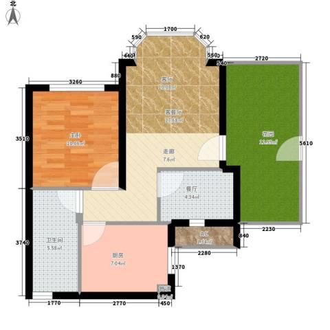 祈福新村活力花园1室2厅1卫1厨65.00㎡户型图