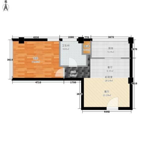 银星苑1室0厅1卫1厨51.00㎡户型图