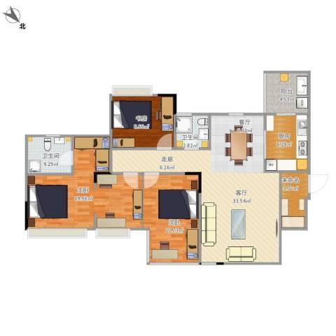 长安华都3室1厅2卫1厨130.00㎡户型图