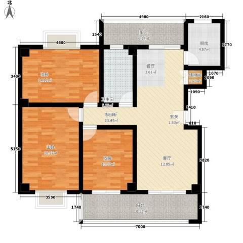 随县神龙湾3室1厅1卫1厨122.00㎡户型图