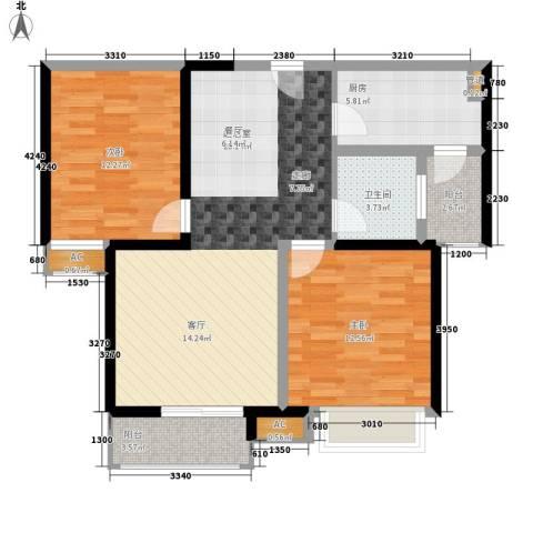 欣景苑2室0厅1卫1厨80.00㎡户型图