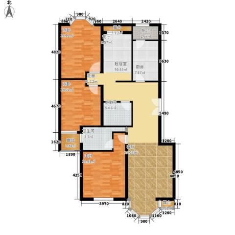 中海城圣朝菲3室0厅2卫1厨138.00㎡户型图