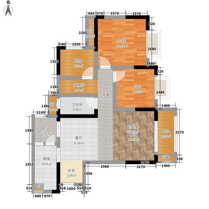 金茂珑悦8号楼7号房户型2室2厅