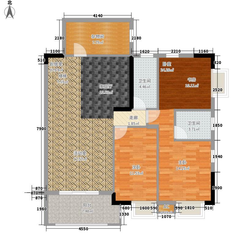 海力花园200.00㎡海力六街1号楼十一层02单元3室户型