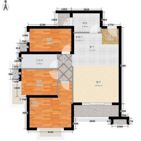 常绿林溪谷3室1厅1卫1厨89.00㎡户型图