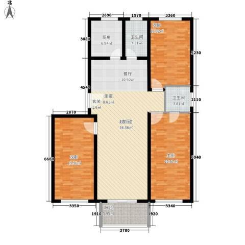 丰河苑东区3室0厅2卫1厨134.00㎡户型图