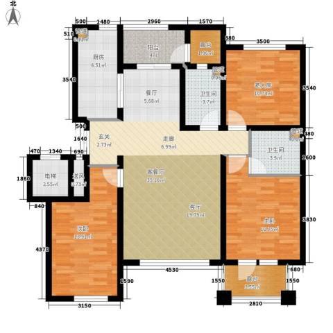辰能溪树河谷3室1厅2卫1厨145.00㎡户型图
