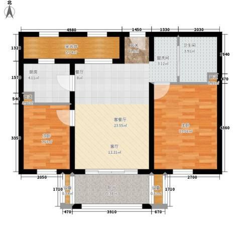 百盛花园2室1厅1卫1厨75.00㎡户型图