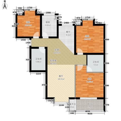 小悉尼自由岛3室0厅2卫1厨124.00㎡户型图