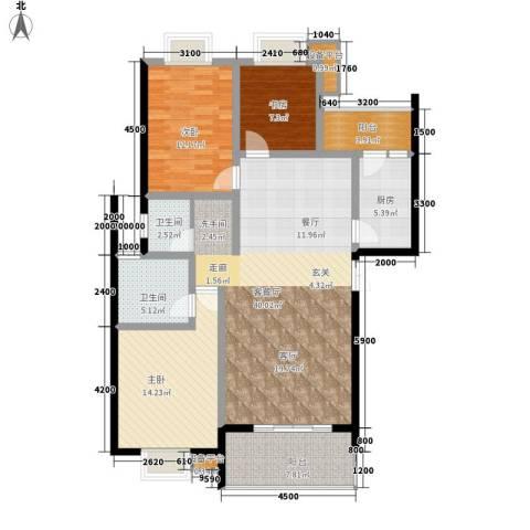 鑫远湘府华城3室1厅2卫1厨134.00㎡户型图
