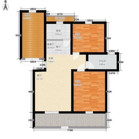 卓越玫瑰园2室1厅1卫1厨89.00㎡户型图