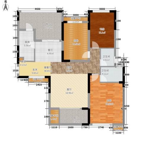 鑫远湘府华城3室1厅2卫1厨133.00㎡户型图