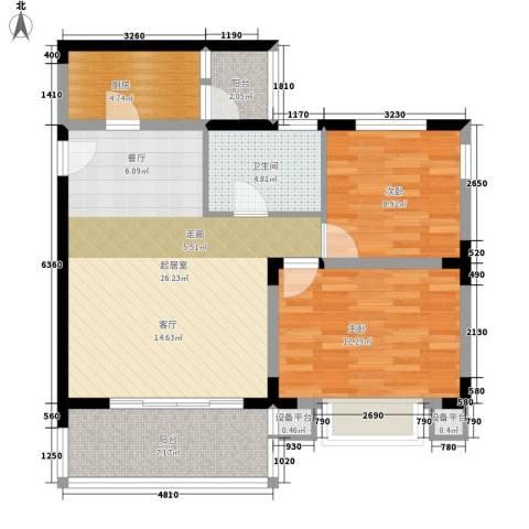 华南碧桂园芳翠苑2室0厅1卫1厨80.00㎡户型图