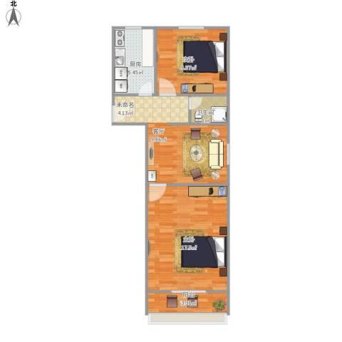 平乐园小区2室1厅1卫1厨71.00㎡户型图