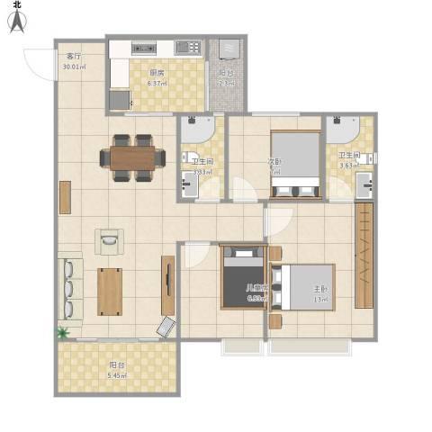 万豪水晶湾3室1厅2卫1厨108.00㎡户型图
