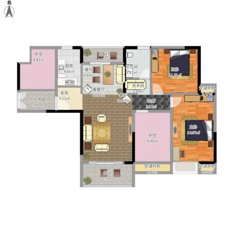 新乡星海传说2室1厅1卫1厨140.00㎡户型图