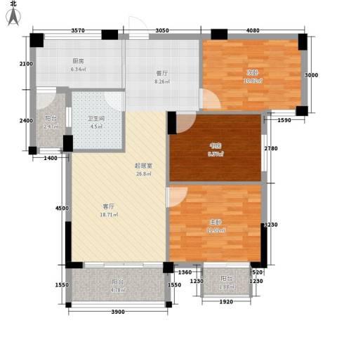 圆梦08庄园3室0厅1卫1厨98.00㎡户型图