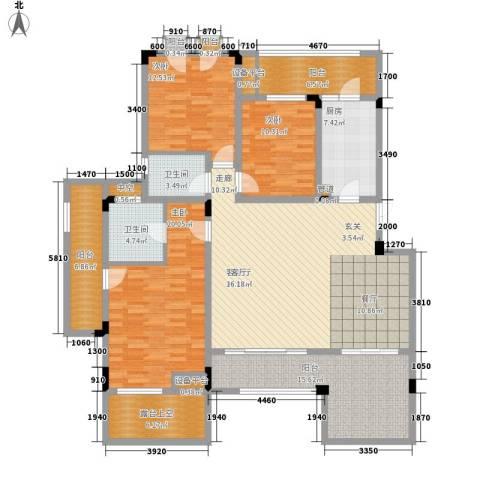 广厦城洛卡庄园3室1厅2卫1厨137.19㎡户型图