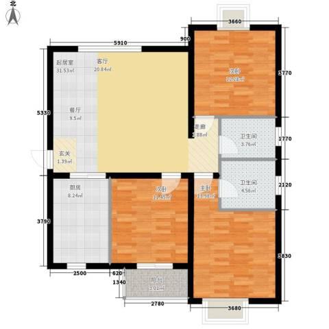 华豪丽晶3室0厅2卫1厨125.00㎡户型图