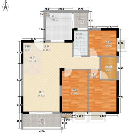 景福里3室1厅2卫1厨122.00㎡户型图