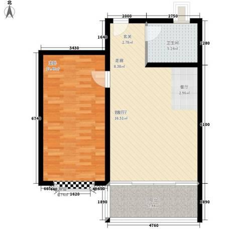 永达时代佳苑1室1厅1卫0厨73.00㎡户型图