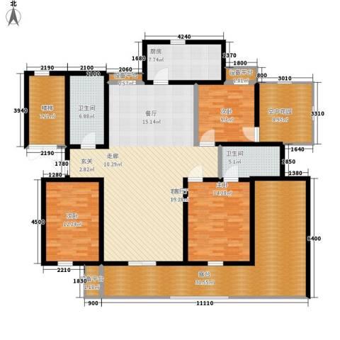 卓越玫瑰园3室1厅2卫1厨152.53㎡户型图