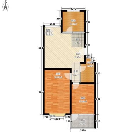 永达时代佳苑2室1厅1卫1厨95.00㎡户型图