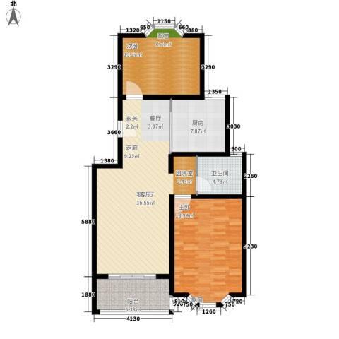 永达时代佳苑2室1厅1卫1厨96.00㎡户型图