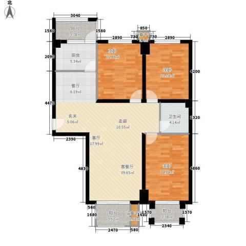 宝丰路商业宿舍3室1厅1卫1厨140.00㎡户型图