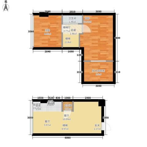鑫秋大厦2室0厅2卫0厨52.36㎡户型图
