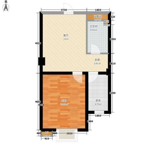 四季康城1室1厅1卫1厨51.00㎡户型图