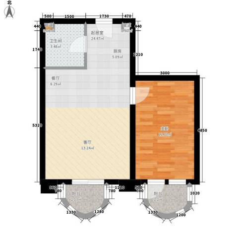 西山公馆1室0厅1卫0厨65.00㎡户型图